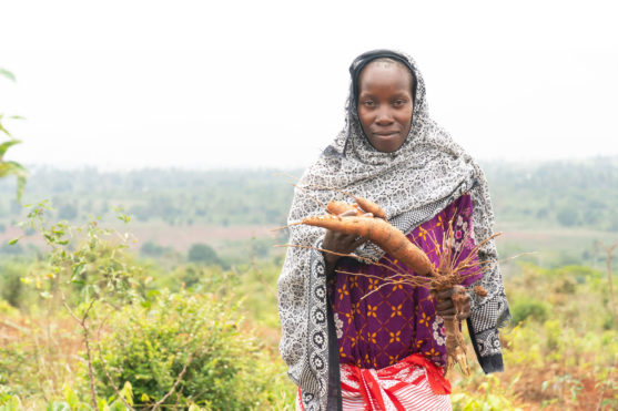 Woman holding cassava root