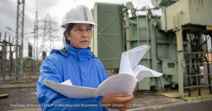 An engineer at a power station in Mauritius.