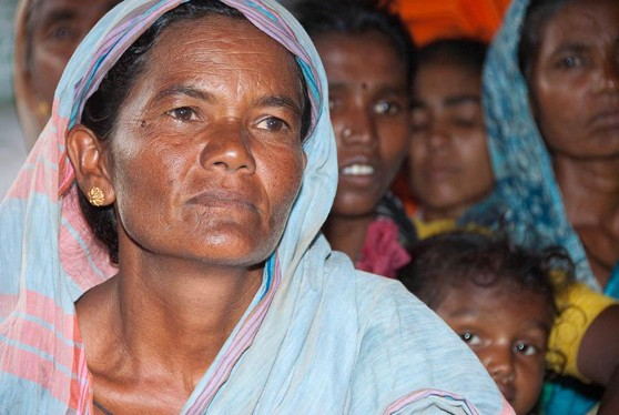 Woman asking for land rights in Andhra Pradesh, India